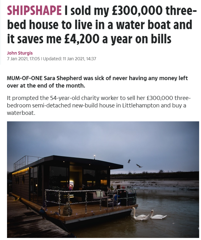 The Sun explains the saving benefits of living on the water – 7th January 2021