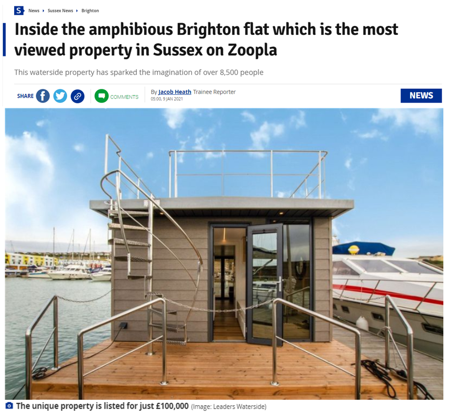 Sussex Live reveals Brighton floating apartment as the most viewed property on Zoopla – 9th January 2021