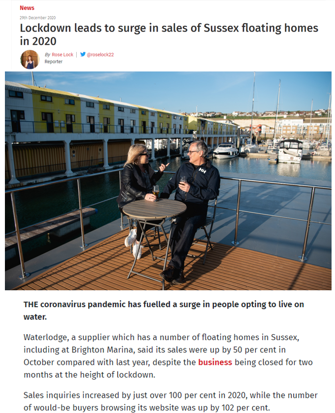 The Argus demonstrates the surge in popularity of floating homes – 29th December 2020
