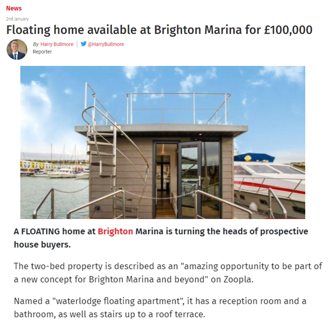 The Argus showcases buyers' growing interest in floating apartments – 2nd January 2021